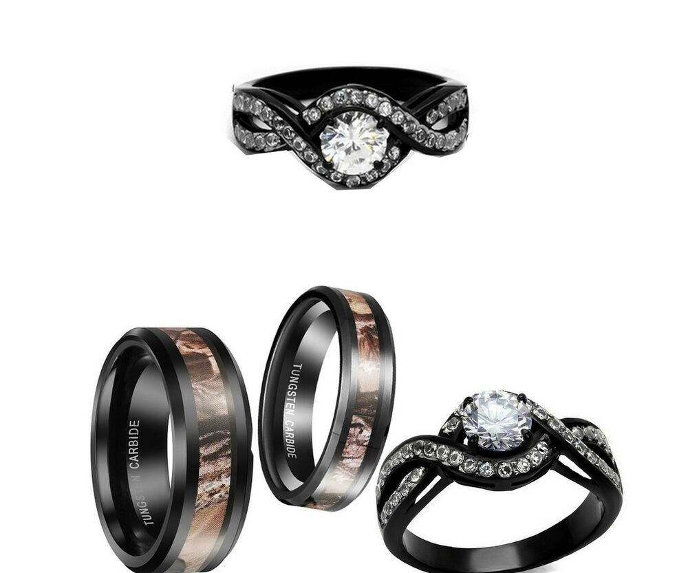 HIS AND HER CAMO TUNGTEN BLACK CZ ROUND CUT COUPLES WEDDING ENGAGEMENT RING S
