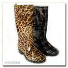 NEW WOMEN RAIN BOOTS TEXTILE LINING LIGHT WEIGHT FLEXIBLE SOLE WITH PRINTS-1107