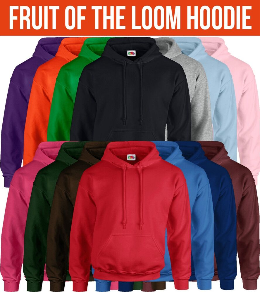 fruit of the loom hoodie mens womens hoody sweatshirt. Black Bedroom Furniture Sets. Home Design Ideas