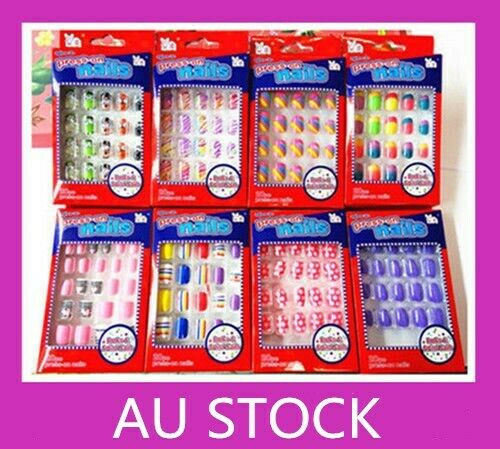 20/24 pcs Girls Kids Designer Acrylic Fake False Nail Set ...