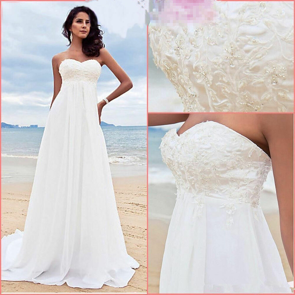 New white ivory a line chiffon beading beach formal for Beach chiffon wedding dress