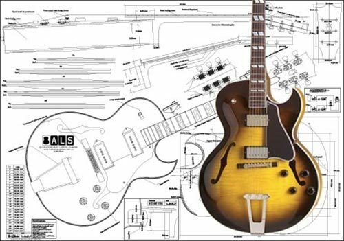 gibson es 175 hollowbody electric acoustic guitar full scale plan ebay. Black Bedroom Furniture Sets. Home Design Ideas