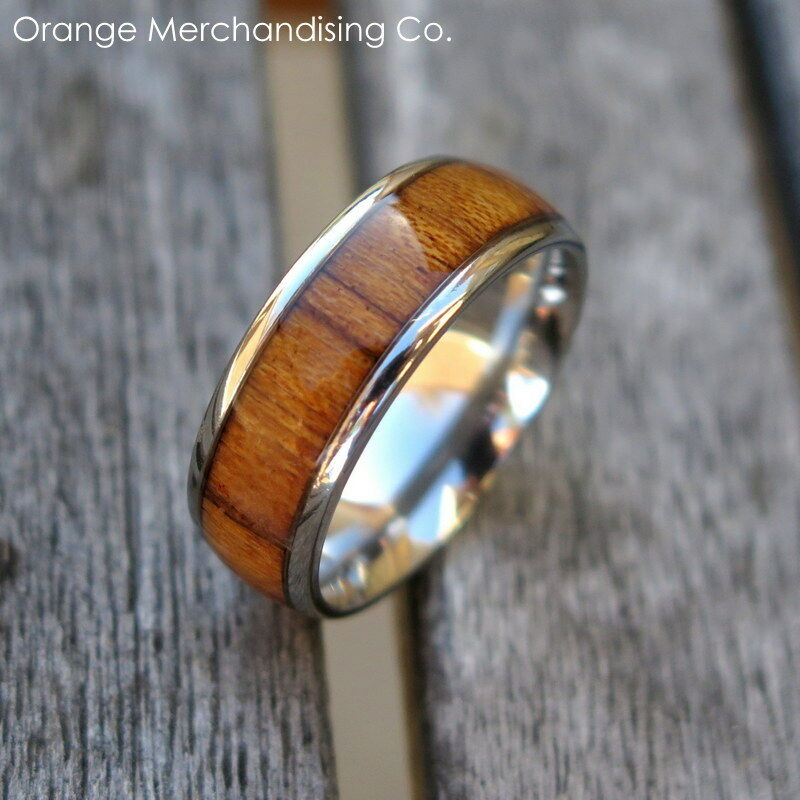wedding band ring 8mm hawaiian koa wood ring titanium hawaii wedding 8421