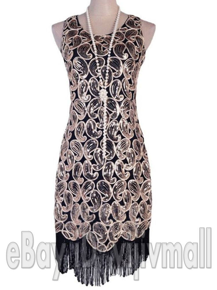 Vintage 1920s Flapper Dress Great Gatsby Black Sequin ...