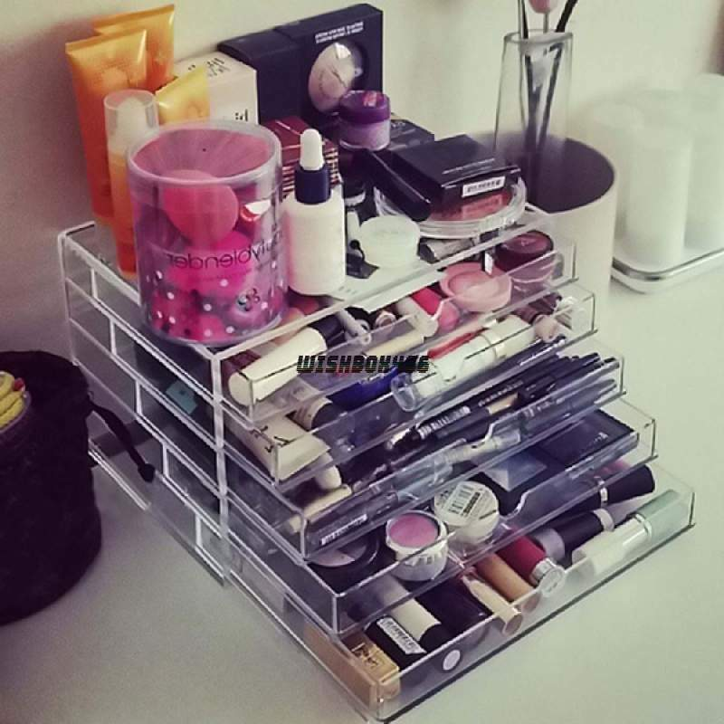 acrylic cabinet box clear makeup case drawers cosmetic. Black Bedroom Furniture Sets. Home Design Ideas