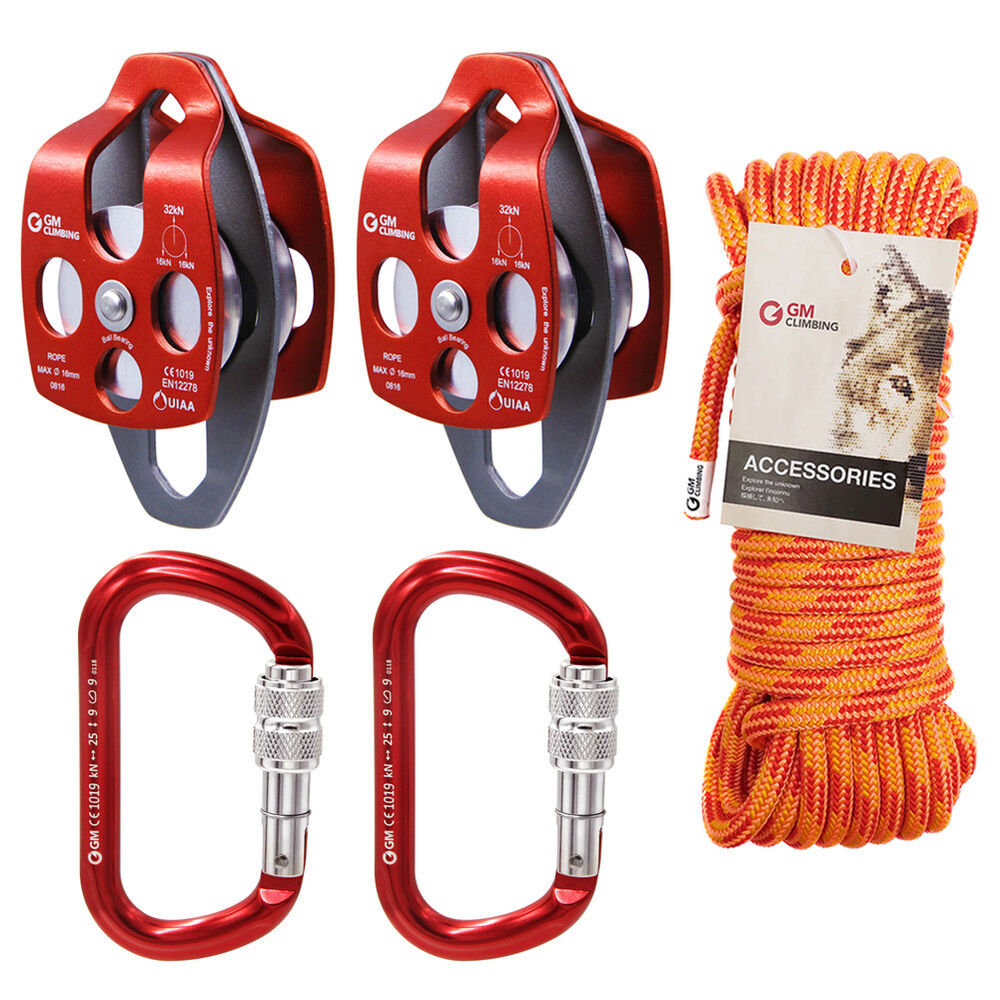 Block & Tackle Pulley Kit : Twin sheave block and tackle lb pulley system feet double braid rope