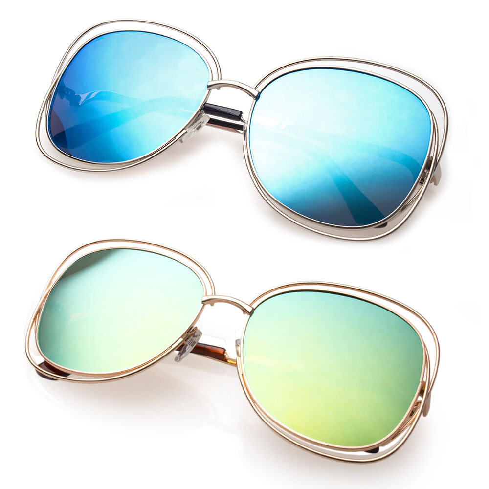 Big Wire Frame Glasses : Big Round Oversized Double Wire Rim Sunglasses Mirror Lens ...