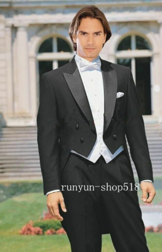 e5a302c6ef4 Details about 2018 New Black Tailcoat Groom Tuxedos Wedding Mens Suits ( Jacket+Pants+Vest+Tie)