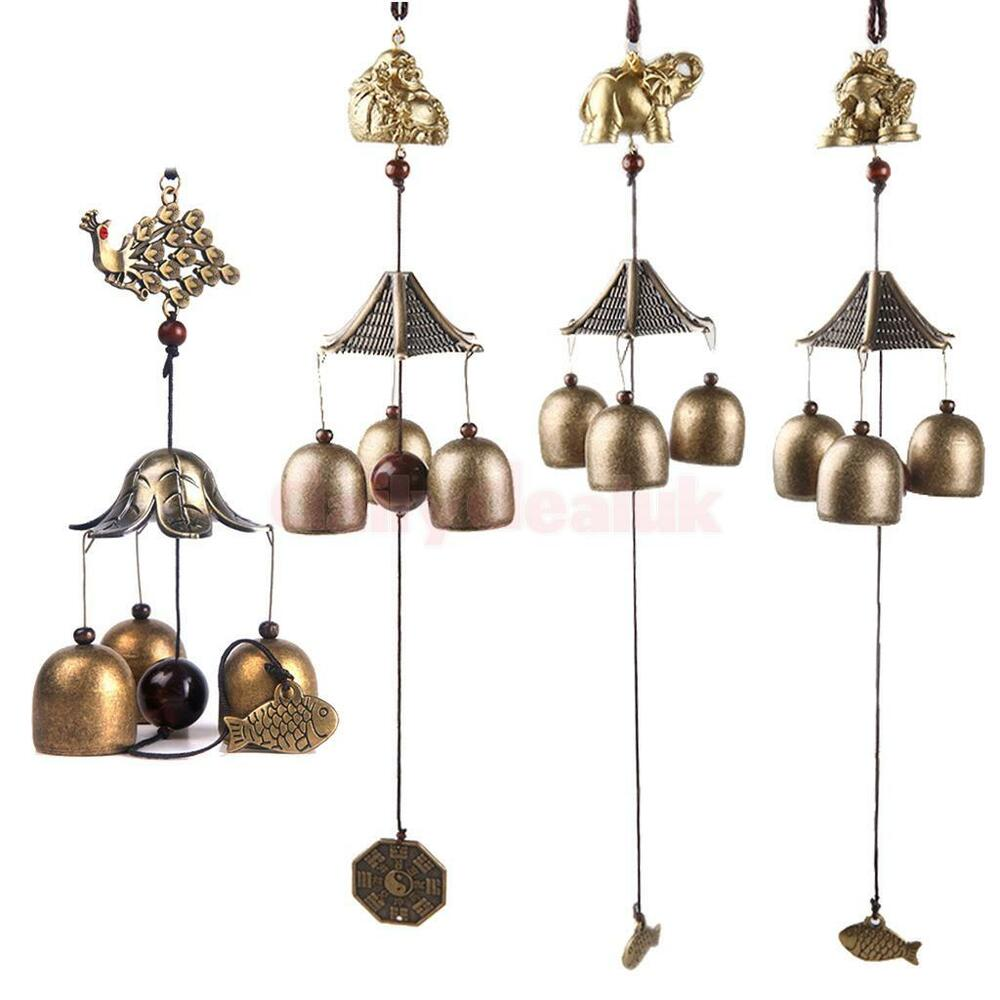 Chinese bell lucky hanging ornament wind chime 3 bells for Hanging garden ornaments