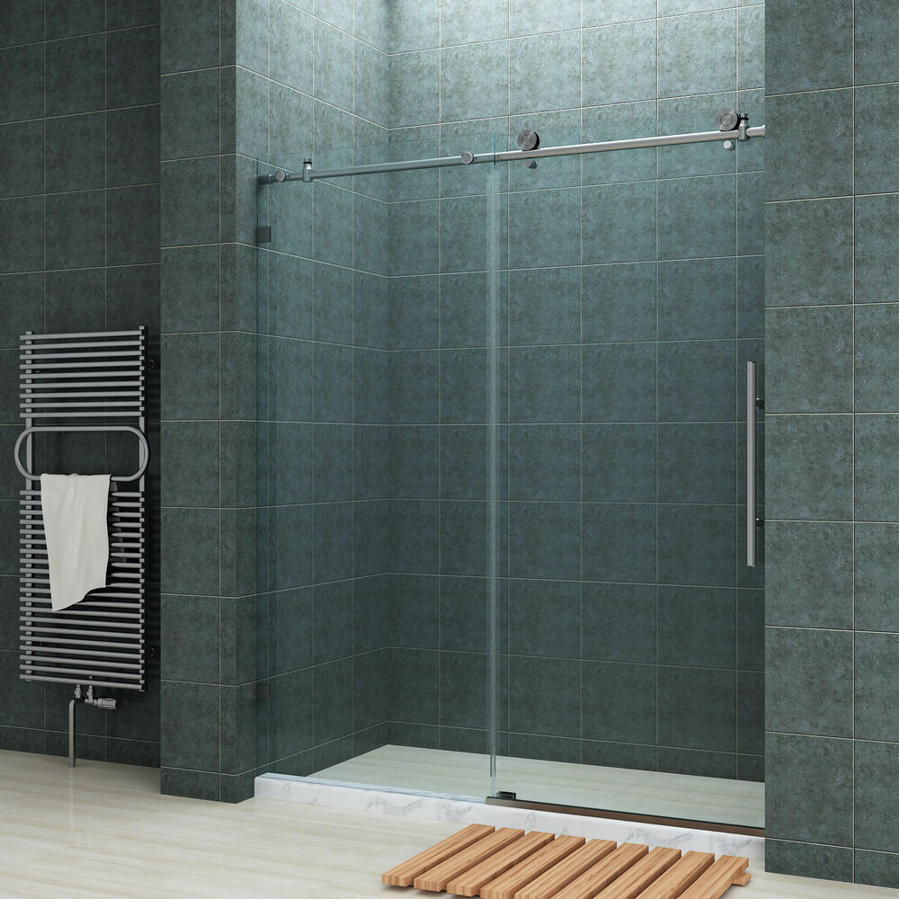 Sunny shower fully frameless sliding shower doors 60 fully stainless steel ebay for Stainless steel bathroom doors