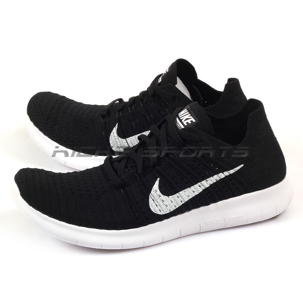 Details about Nike Free RN Flyknit Lightweight Training Running Shoes Black  White 831069-001 410374536