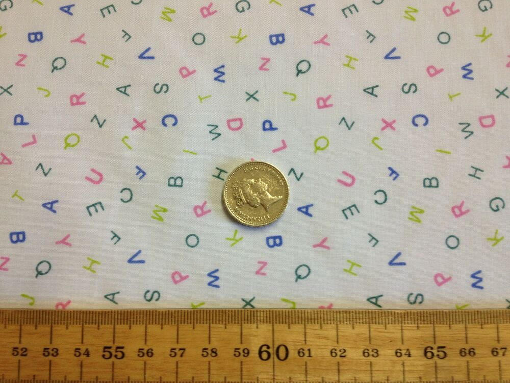Baby nursery alphabet pink blue green poly cotton fabric for Nursery fabric