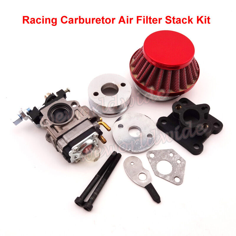 47cc 49cc racing carburetor kit carb air filter stack pocket bike mini atv dirt ebay. Black Bedroom Furniture Sets. Home Design Ideas