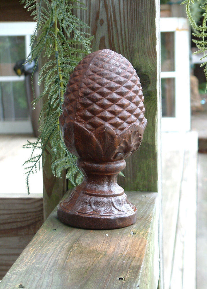 Large Pineapple Finial Solid Cast Iron Garden Decor Ebay