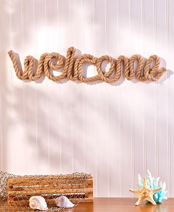 Wall Decor With Rope : Nautical rope coastal welcome wall decor cowboy western