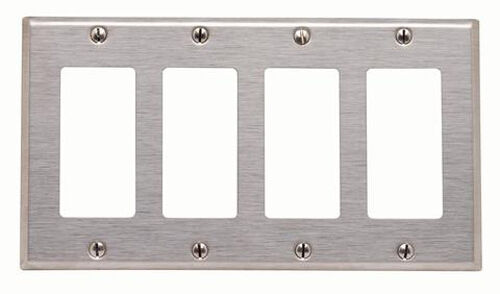 1 Pc New 4 Gang Decorator Brushed Stainless Steel Wall