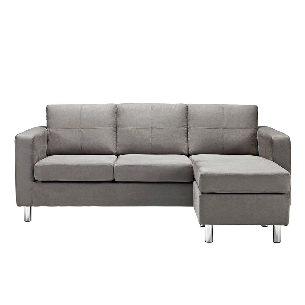 Modern Microfiber Small Sectional Sofa Light Grey