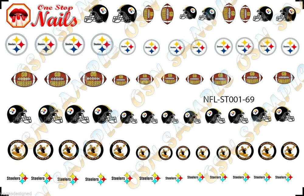69pcs Pittsburgh Steelers Nail Art Decals Stickers Transfers ST001 ...