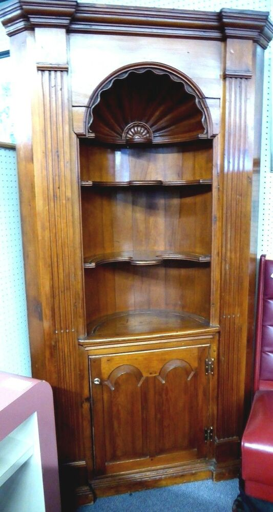 Antique Corner Cupboard W Carved Shell Like Oval Office