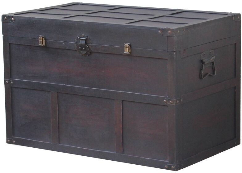 Steamer Trunk Antique Style Chest Wood Metal Home Decor