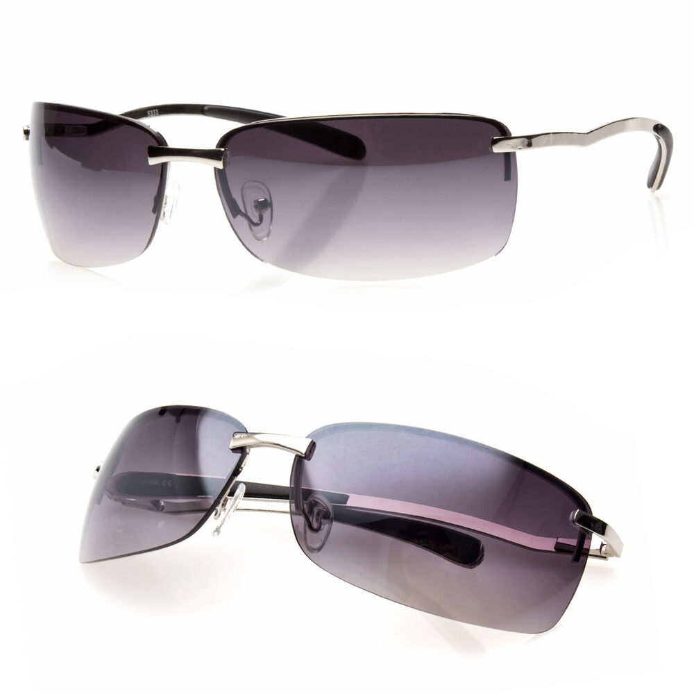 Details about NEW MENS RECTANGULAR RIMLESS DESIGNER SUNGLASSES SHADES  EYEWEAR BLACK GOLD COLOR d3848ef27