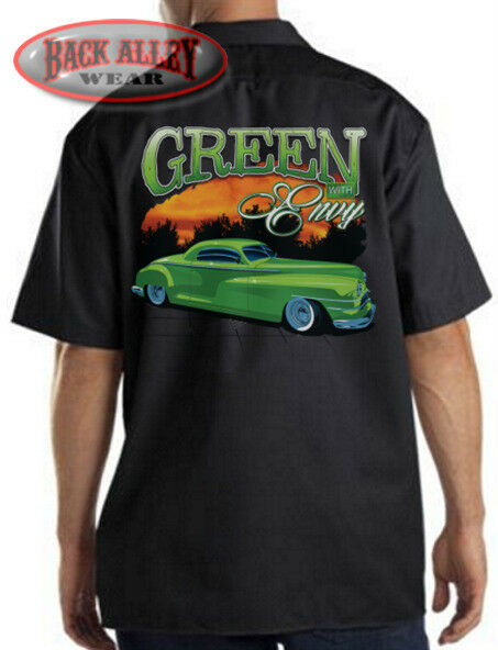 Green Envy Low Rider Hot Rod Mechanics Dickies Work Shirt