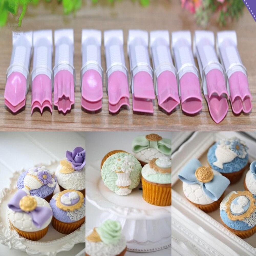 10pcs plastic cake fondant embossed crimpers mold baking utensil decorating tool ebay. Black Bedroom Furniture Sets. Home Design Ideas