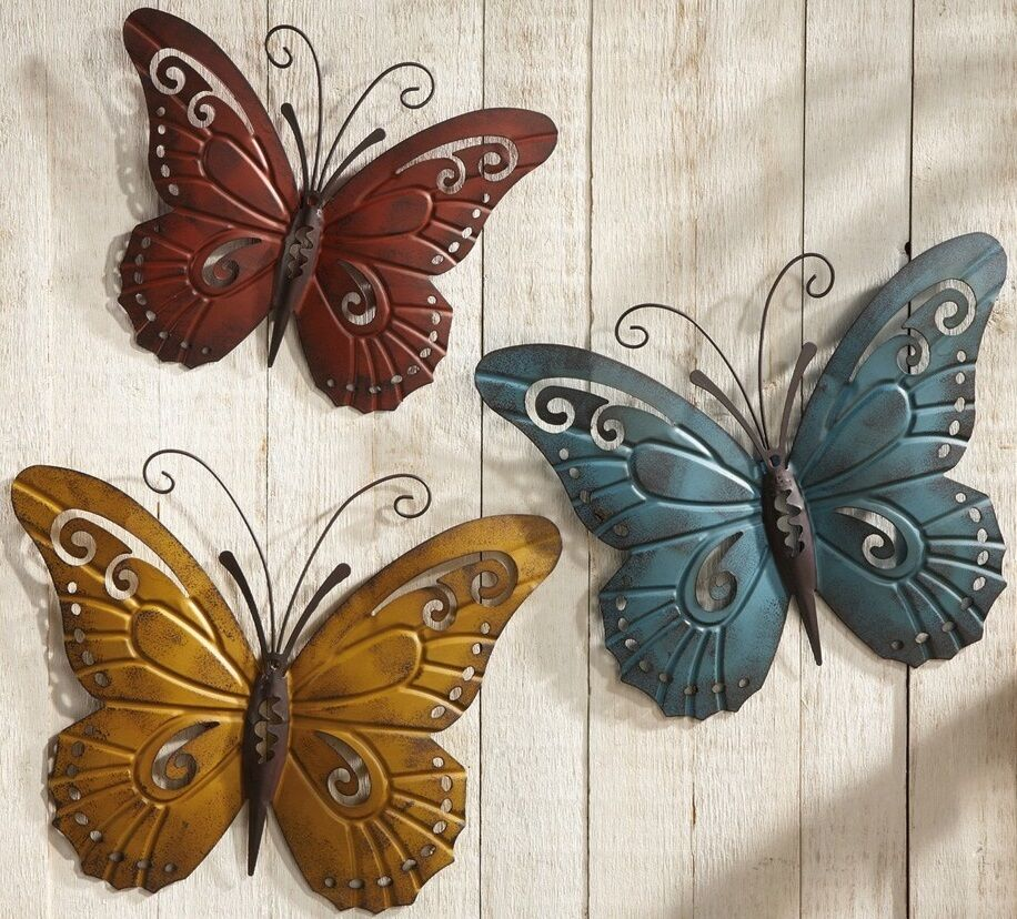 Large Metal Butterfly 3D Wall Art Garden Nature Indoor ...