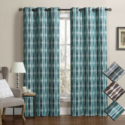 Mansoon Woven Jacquard Insulated Blackout Curtain (Set of 2) Panels 76'' W x 84''L