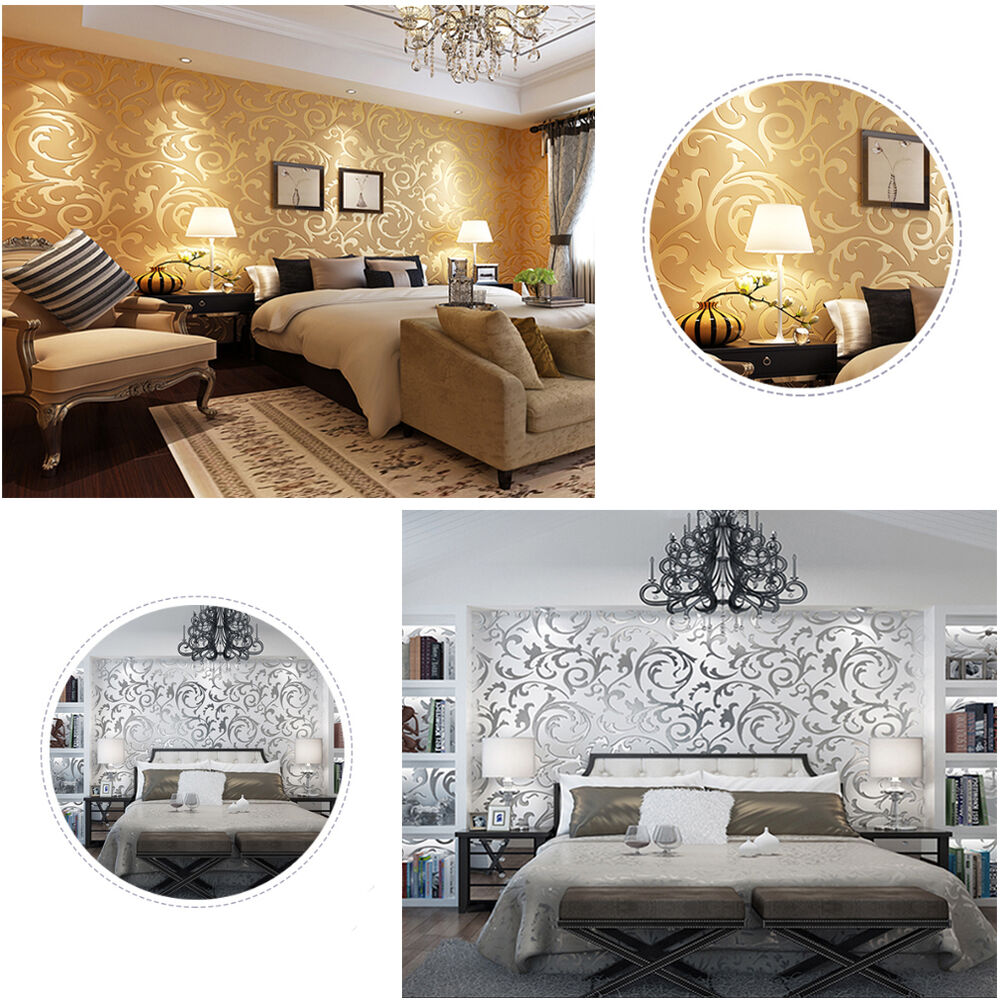 luxus 3d optik vliestapete tapete barock vlies wandtapete wandbild gold silber ebay. Black Bedroom Furniture Sets. Home Design Ideas