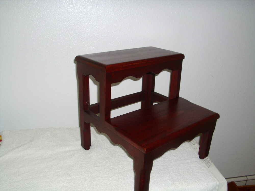 Solid Alder Bed Step Stool Dark Cherry Wooden Wood Ebay