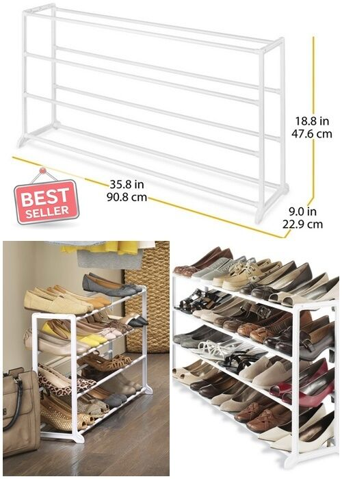 Shoe rack organizers white resin storage home woman men 20 pair office dorm room ebay - Shoe storage small space pict ...