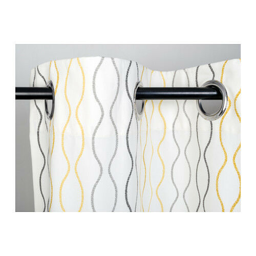 ikea henny rand curtains 1 pair white gray yellow 57x118 100 cotton 2 panels ebay. Black Bedroom Furniture Sets. Home Design Ideas