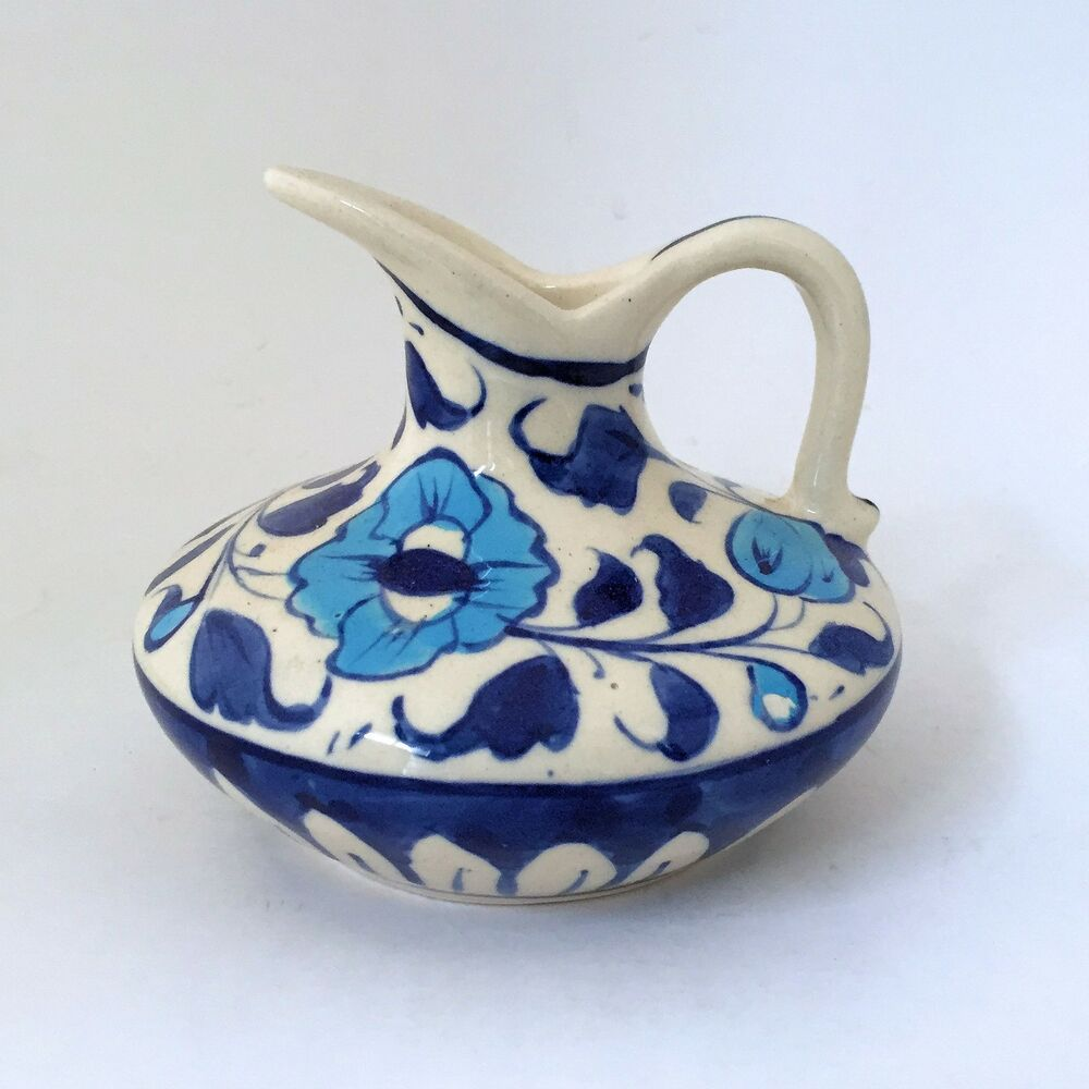 Multani Hand Painted Blue And White Flowers Small Pitcher