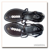 NEW FASHION WOMENS  ROMAN SANDALS FLATS WITH BLING THONGS / BLACK