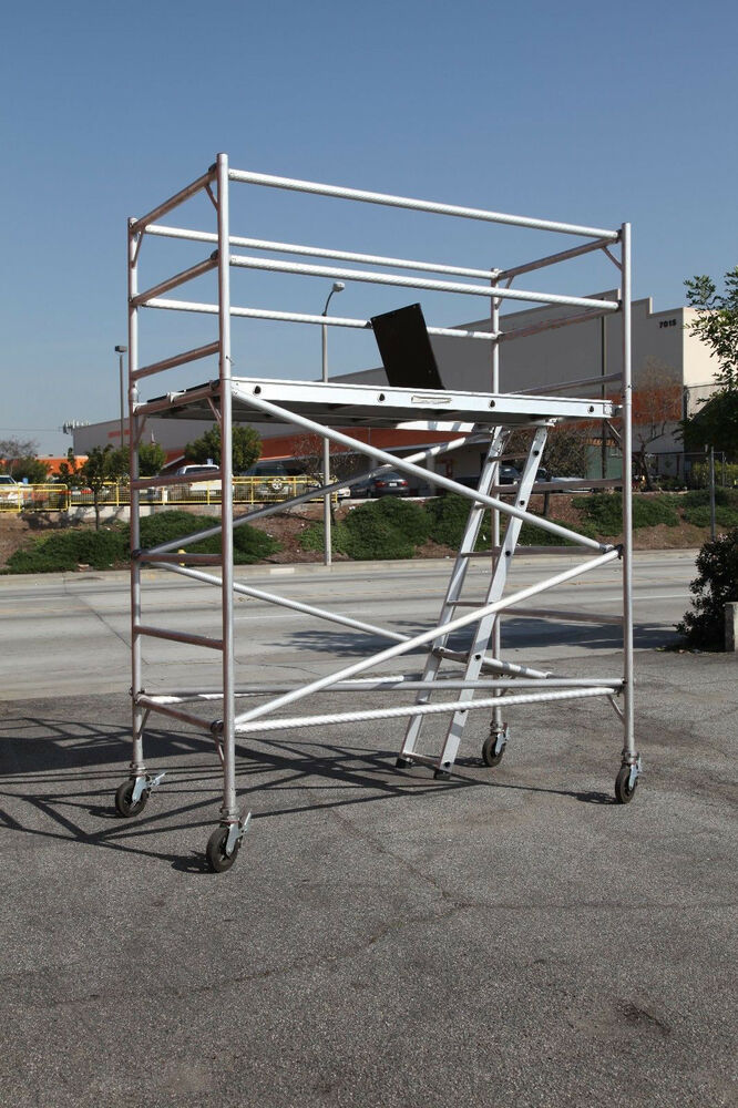 Aluminum Rolling Scaffold : Aluminum scaffold rolling tower deck h with guard rail