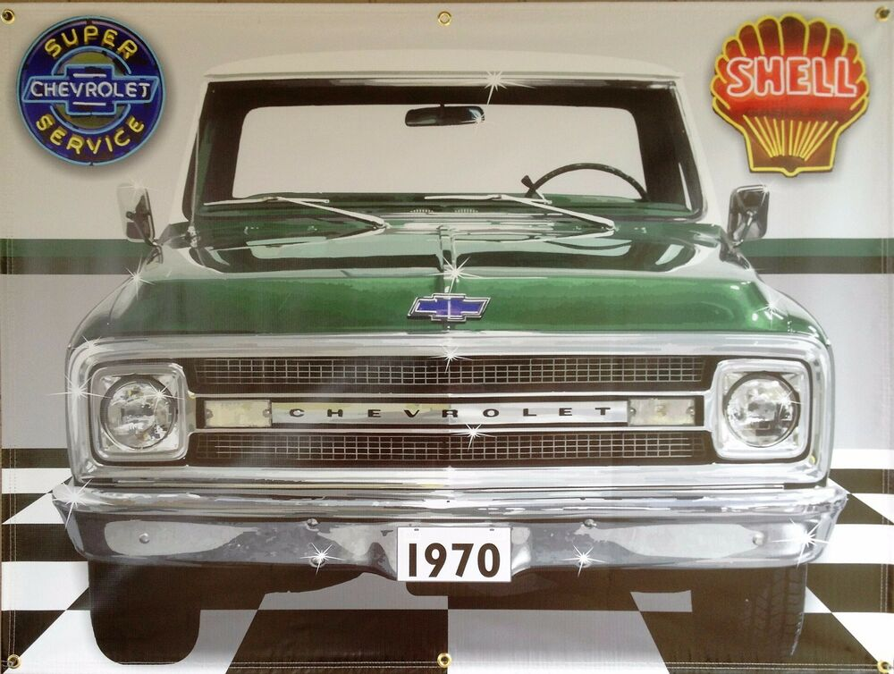 1970 c10 chevy chevrolet truck green garage scene banner for Telephone mural 1970