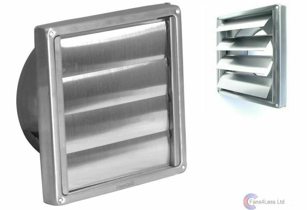 Gravity Grille Brush Steel External Wall Ducting Bathroom