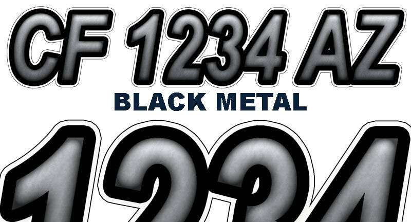 Black metal custom boat registration numbers decals vinyl for Vinyl letter stickers for boats
