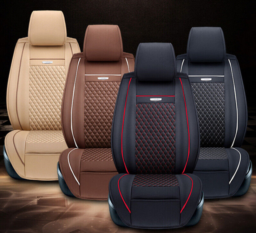 6pcs pu leather needlework universal car seat cushion covers for 5 seat car ebay. Black Bedroom Furniture Sets. Home Design Ideas