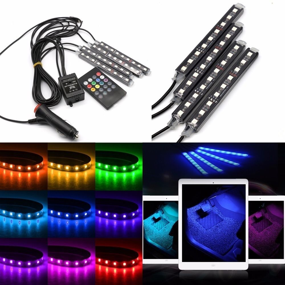4x9 led rgb car interior decoration light wireless music control decor lamp ebay. Black Bedroom Furniture Sets. Home Design Ideas