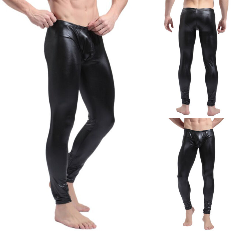 Details about Wet Look Mens Compression Tights Athletic Under Layer GYM Long  Pants Black Red b6d7fe0e4f7a