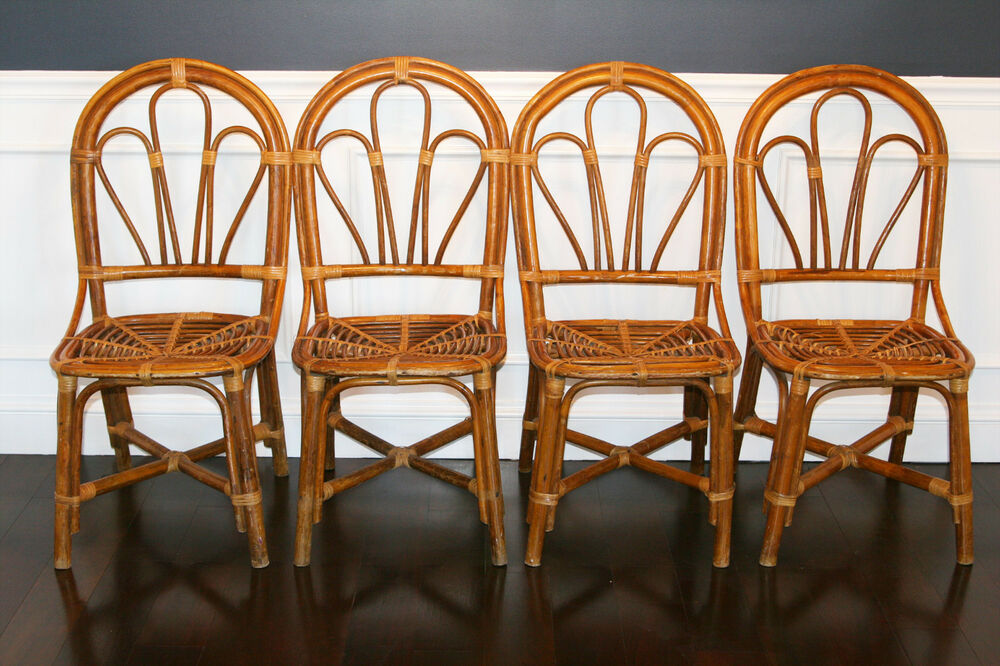 Vintage Mid Century Hollywood Regency Bamboo Rattan Wicker Bentwood Chairs Ebay