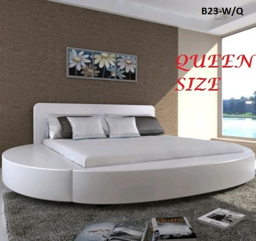 italian design queen size round white pu leather bed frame ebay. Black Bedroom Furniture Sets. Home Design Ideas