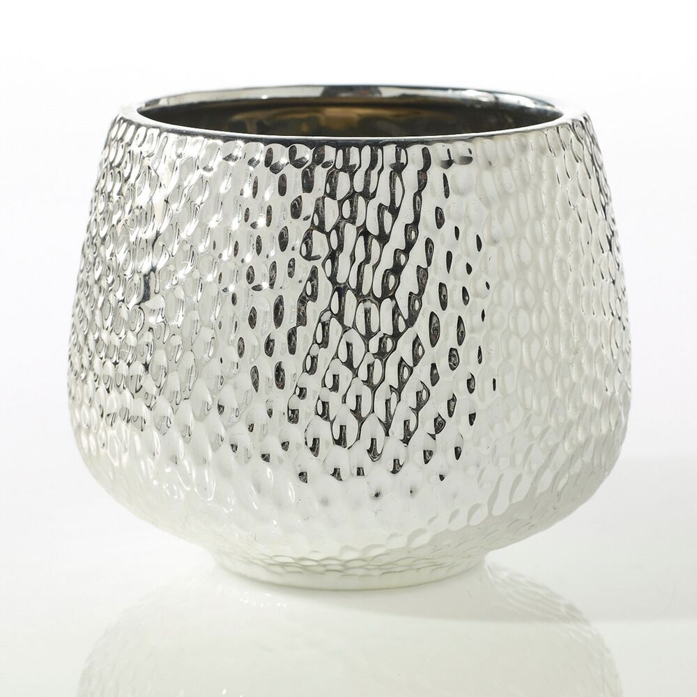 Modern Reflective All Silver Ceramic Hammered Dimpled
