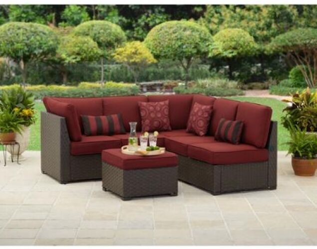 Outdoor Patio Sectional Sofa Set 3 Pc Wicker Furniture