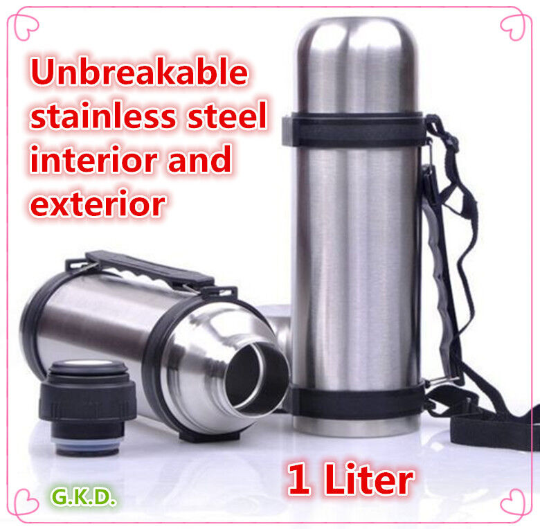 vacuum stainless steel insulated coffee soup bottle thermos with handles 1 liter ebay. Black Bedroom Furniture Sets. Home Design Ideas