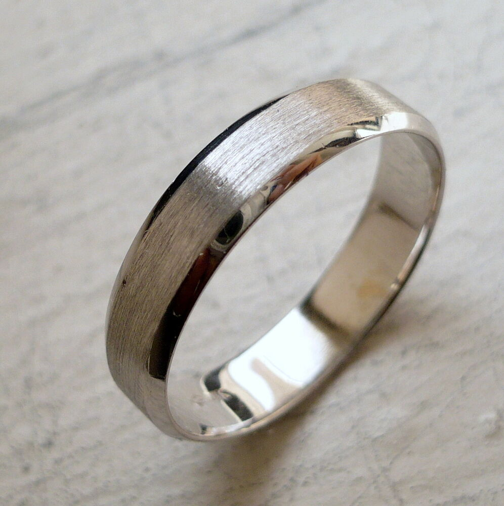 White Gold Bands: 5mm 14K SOLID WHITE GOLD MEN'S WEDDING ANNIVERSARY BAND