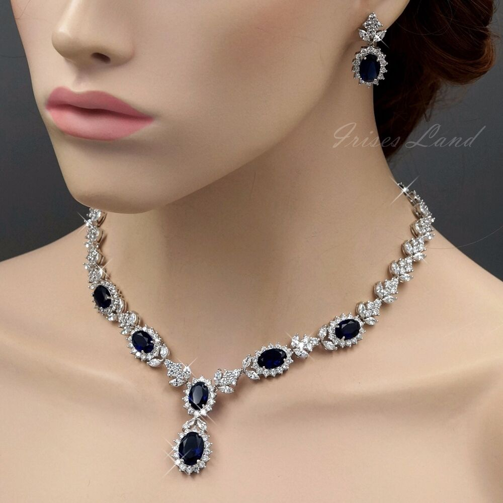 Wedding Earrings White Gold: 18K White Gold GP Sapphire Zirconia CZ Necklace Earrings