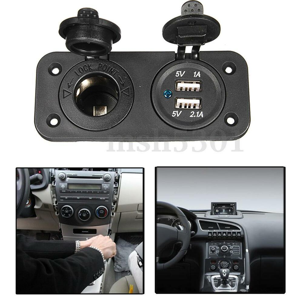 car cigarette lighter socket splitter 12v dual usb charger power adapter outlet ebay. Black Bedroom Furniture Sets. Home Design Ideas